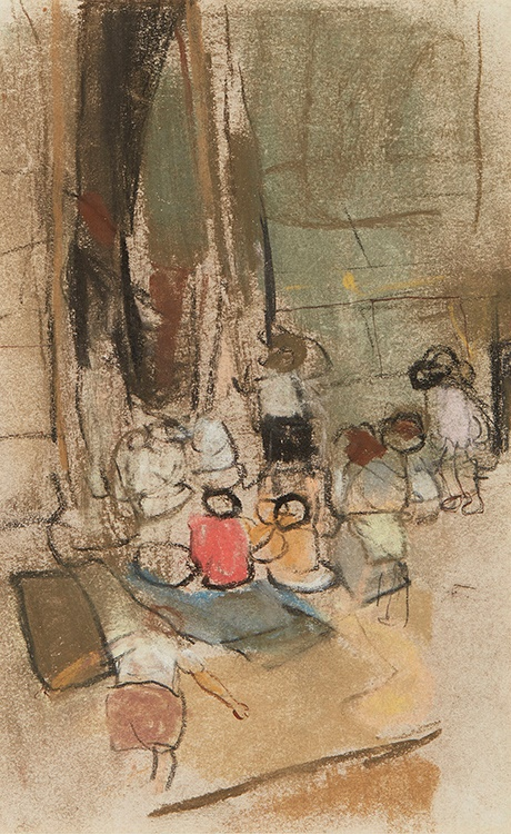 JOAN EARDLEY R.S.A (SCOTTISH 1921-1963) CHILDREN IN A STREET