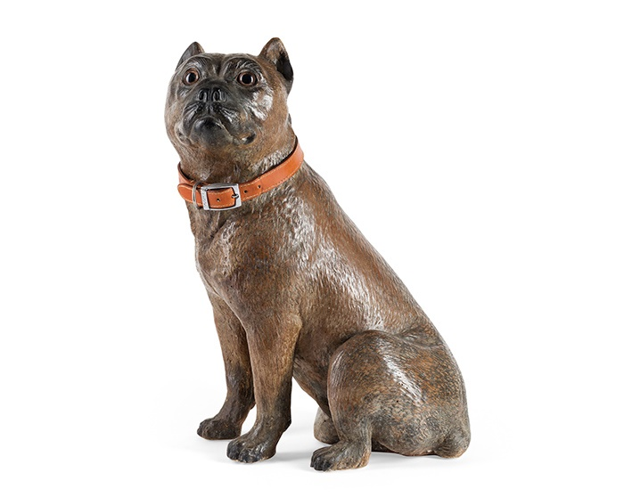 LARGE AUSTRIAN PAINTED TERRACOTTA FIGURE OF A SEATED PUG