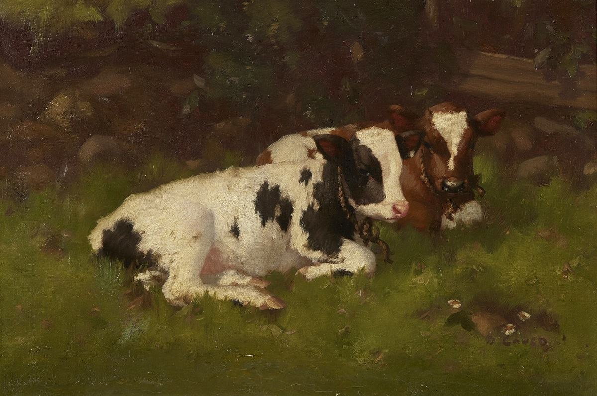 DAVID GAULD R.S.A (SCOTTISH 1865-1936) CALVES IN A BYRE