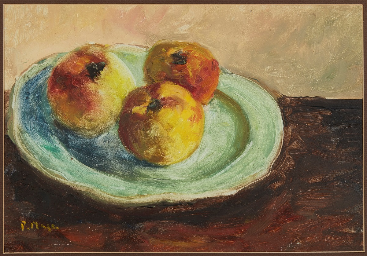 PAUL LUCIEN MAZE (FRENCH 1887-1979) APPLE ON A GREEN PLATE