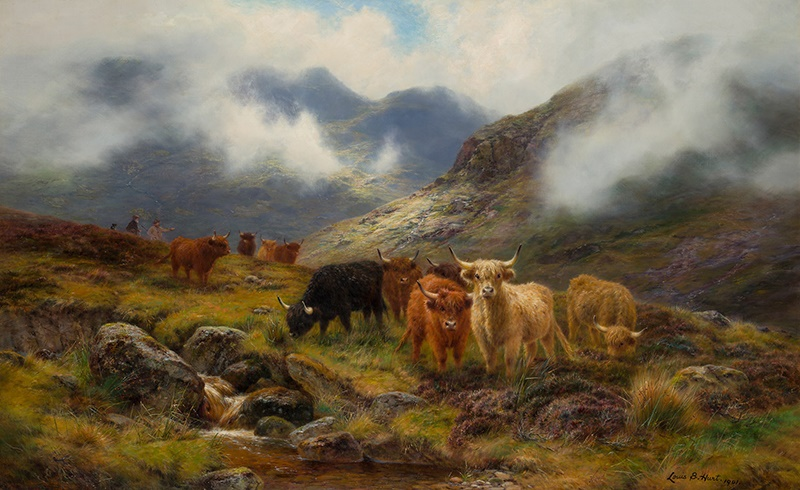 LOUIS BOSWORTH HURT (SCOTTISH 1856-1929) HIGHLAND CATTLE IN A MOUNTAIN GLEN