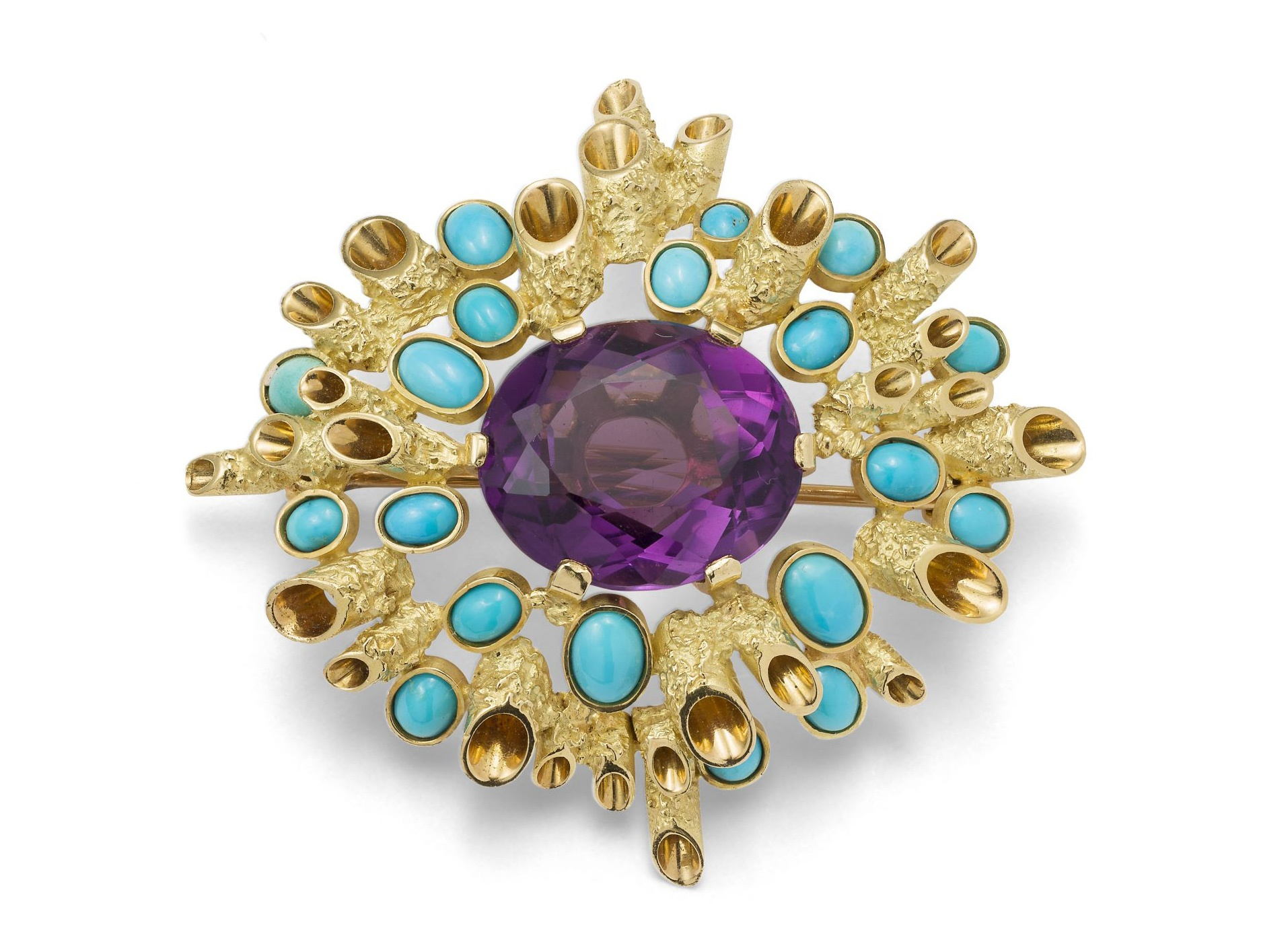 Lot 68 | An amethyst and turquoise brooch, by John Donald, 1965 | The central oval-cut amethyst, within an abstract border of radiating textured round 18ct gold tubes, accented with collet-set cabochon turquoise, UK hallmark, maker's mark JAD, maker's case | Length: 5.0cm | £1,500 - £2,000 + fees
