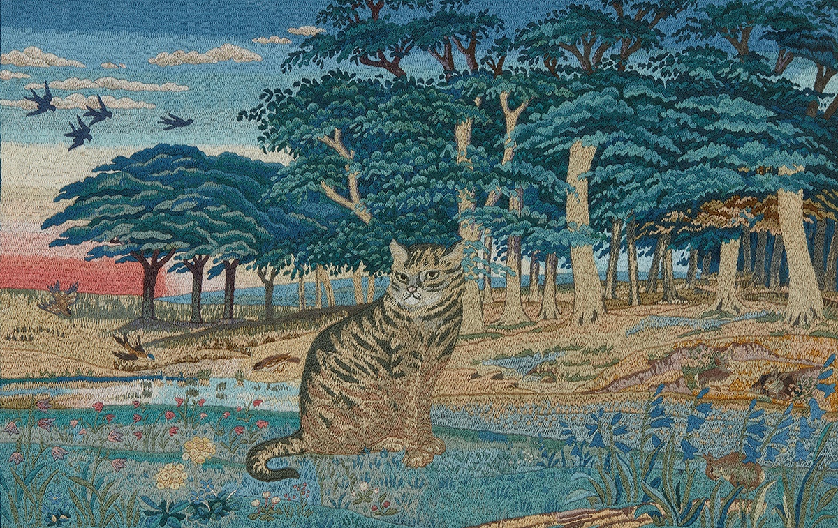 MAY MORRIS (1862-1938) 'THE HUNTER AT BAY' EMBROIDERED PANEL, 1935