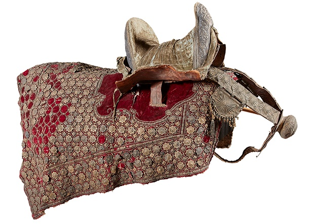 OTTOMAN SADDLE, RED VELVET SADDLE-CLOTH, AND TACKLE