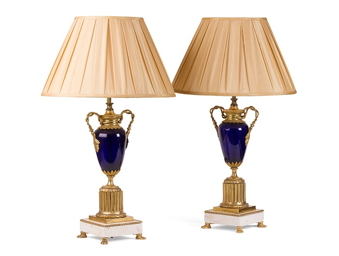 PAIR OF SCANDINAVIAN GILT BRONZE, COBALT GLASS AND MARBLE URNS