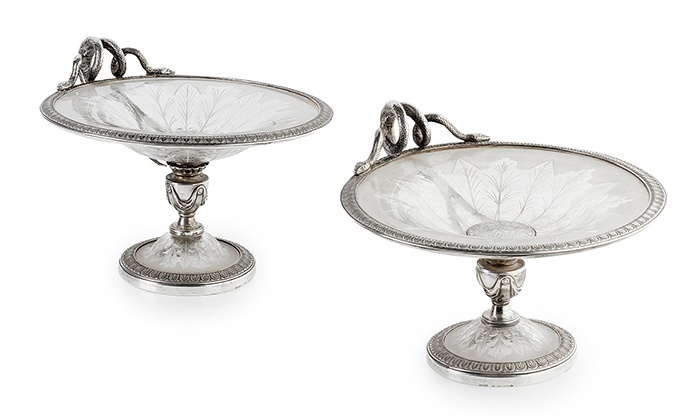LOT 244 | PAIR OF VICTORIAN SILVER MOUNTED AND CUT GLASS COMPORTS BY JOHN SAMUEL HUNT