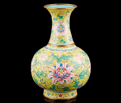 RARE IMPERIAL PAINTED ENAMEL YELLOW-GROUND 'LOTUS' VASE QIANLONG MARK AND PERIOD