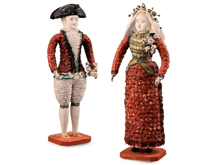 RARE PAIR OF FRENCH CARTON MOULE 'SEASIDE' DOLLS