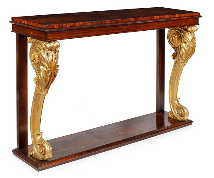 LOT 233 | REGENCY ROSEWOOD AND GILT WOOD CONSOLE TABLE