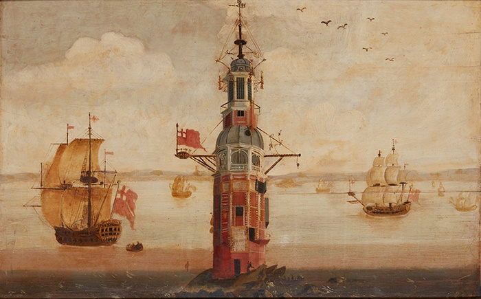 18TH CENTURY ENGLISH SCHOOL | SHIPPING AROUND THE EDDYSTONE LIGHTHOUSE