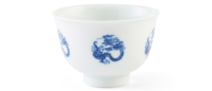 BLUE AND WHITE 'DRAGON' WINE CUP KANGXI MARK AND PERIOD