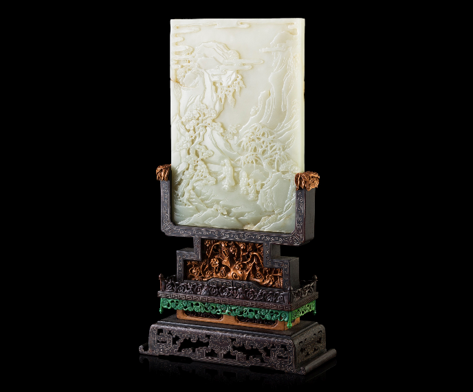 WHITE JADE INSET HARDWOOD TABLE SCREEN LATE QING DYNASTY-REPUBLIC PERIOD, 19TH-20TH CENTURY