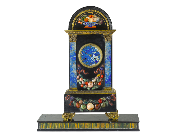 FRENCH FLORENTINE MARBLE AND PIETRA DURA MANTEL CLOCK, BY HUNZIKER, PARIS