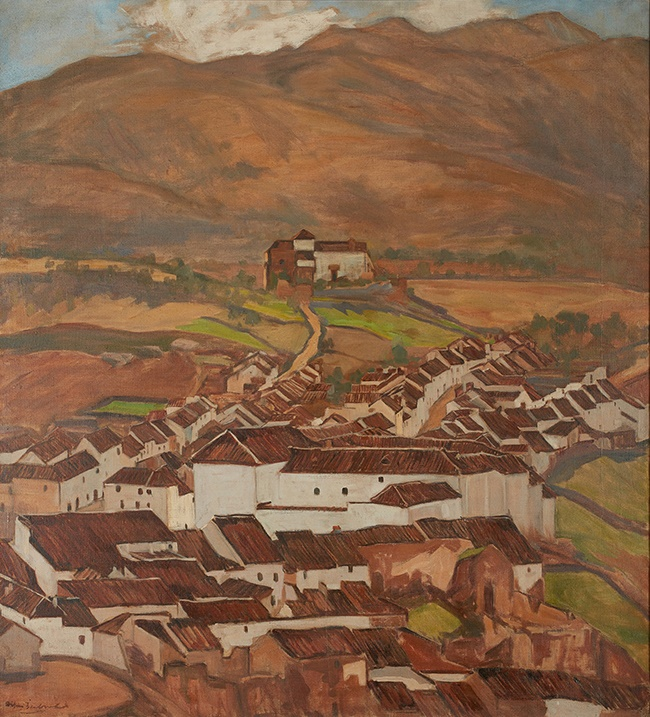 LOT 184 | § WILLIAM MACDONALD (SCOTTISH 1883-1960) | SPANISH HILL TOWN Signed, oil on canvas | 110m x 101cm (43.25in x 39.75in) | £3,000 - £5,000 + fees