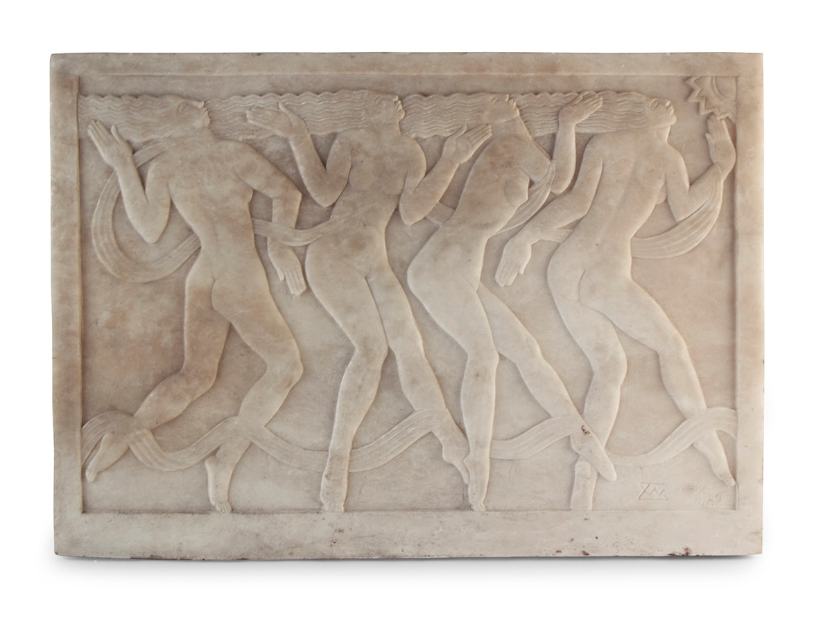 Thomas Whalen (1903-1975) marble panel, Dancing Figures, c.1930, marble panel, inscribed with monogram - Sold for £13,125 AUCTION RECORD FOR THE ARTIST