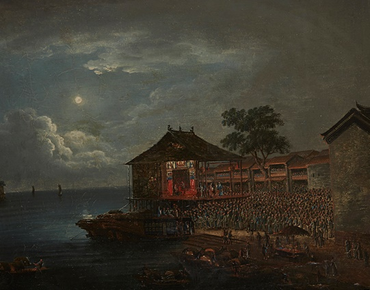 19TH CENTURY CHINA TRADE SCHOOL DRAGON BOAT RACING AND THREE OTHER VIEWS