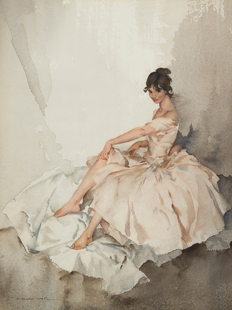 SIR WILLIAM RUSSELL FLINT P.R.A., P.R.W.S., R.S.W., R.O.I., R.E. (SCOTTISH 1880-1969) | JEMIMA Signed, inscribed on the backboard verso 'For Norman Wilkinson C.B.E. March 1964, Norman please accept this little watercolour in recollection of our happy friendship of 60 years Willy, 6.3.64,' watercolour | 30.5cm x 23cm (12in x 9in) Exhibited: Royal Institute of Painters in Watercolours, 1964 - No. 2 | Sold for £23,750 incl premium