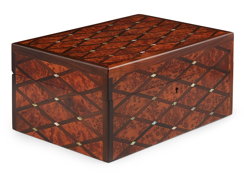 AMBOYNA, ROSEWOOD AND MOTHER-OF-PEARL INLAID JEWELLERY BOX