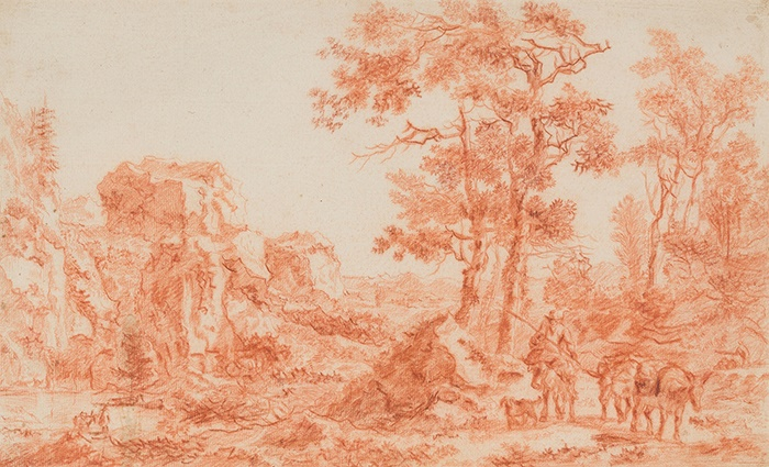 ATTRIBUTED TO WILLEM DE HEUSCH (DUTCH 1625 - 1692) | SKETCH FOR ITALIANATE LANDSCAPE