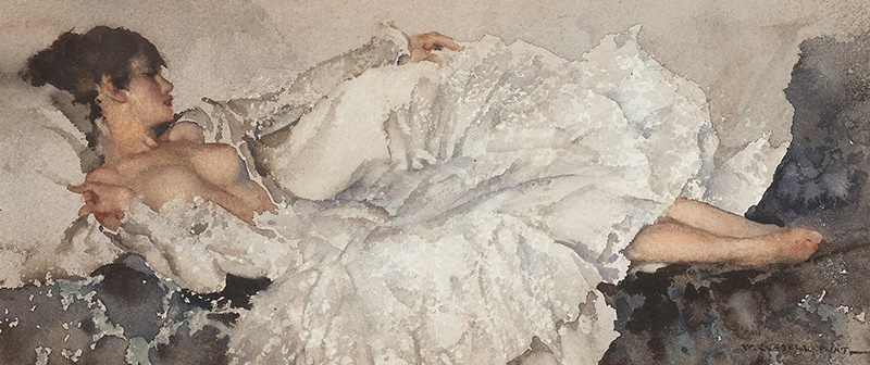 SIR WILLIAM RUSSELL FLINT P.R.A., P.R.W.S., R.S.W., R.O.I., R.E. (SCOTTISH 1880-1969) THE SILVER FROCK