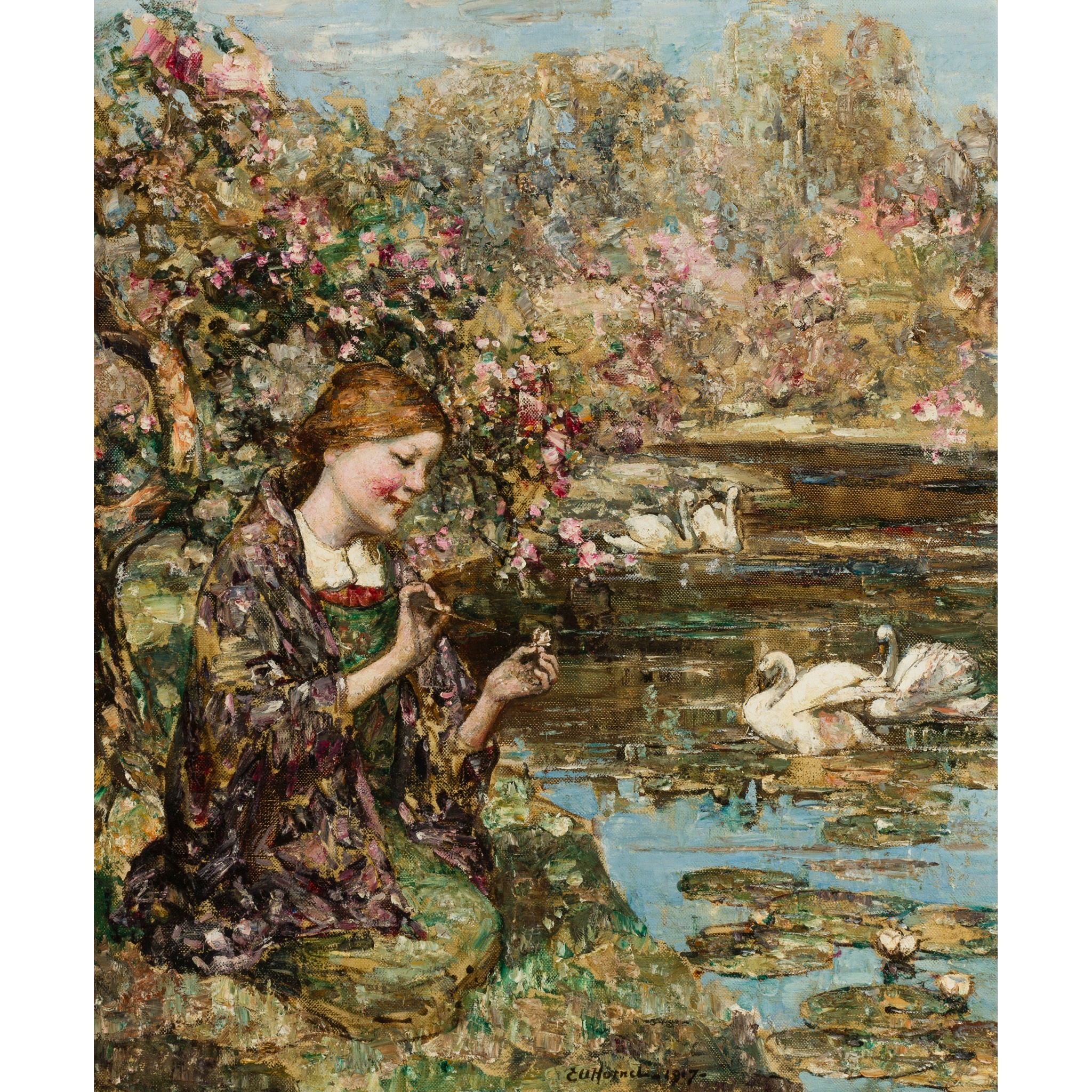 EDWARD ATKINSON HORNEL (SCOTTISH 1864-1933) | SWAN LAKE Signed and dated 1917, oil on canvas | 765cm x 63cm (30in x 25in) Sold for £13,750 incl premium
