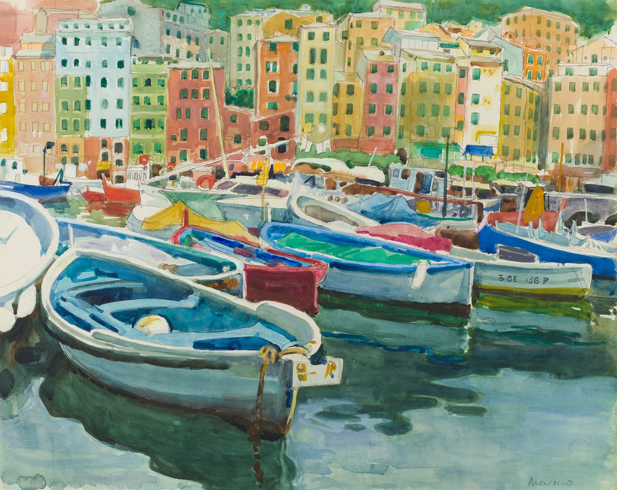 ALBERTO MORROCCO R.S.A., R.S.W., R.P., R.G.I., L.L.D (SCOTTISH 1917-1999) THE HARBOUR AT CAMOGLI