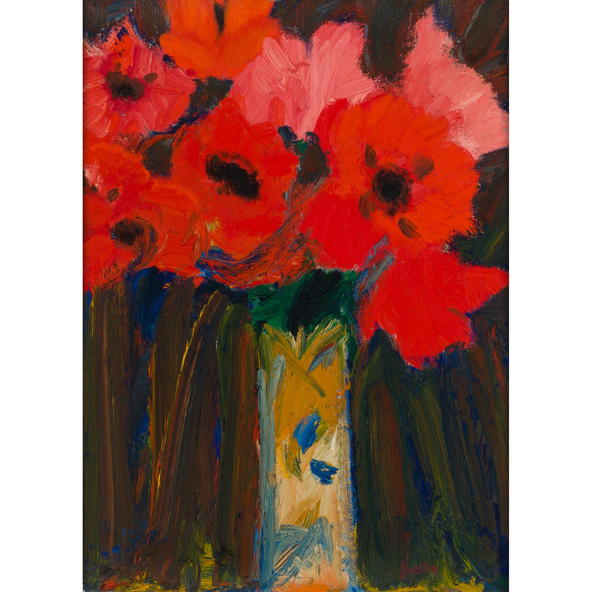 JOHN HOUSTON R.S.A., R.S.W., S.S.A. (SCOTTISH 1930-2008) | ORIENTAL POPPIES 1 Signed, signed, inscribed and dated on the stretcher 1984, oil on canvas | 51cm x 41cm (20in x 16in) | Exhibited: Mercury Gallery, London 1986; Dr. Ruth Page until 2015 | Sold for £10,625 + fees