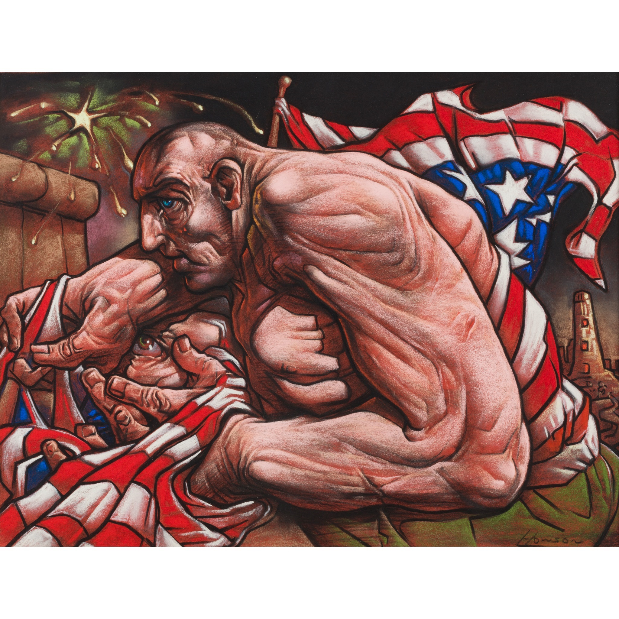 LOT 59 | § PETER HOWSON O.B.E. (SCOTTISH B.1958) SENTINAL Signed, pastel | 48cm x 61cm (18in x 24in) | Provenance: Peter Howson Studio | £2,000 - £3,000 + fees