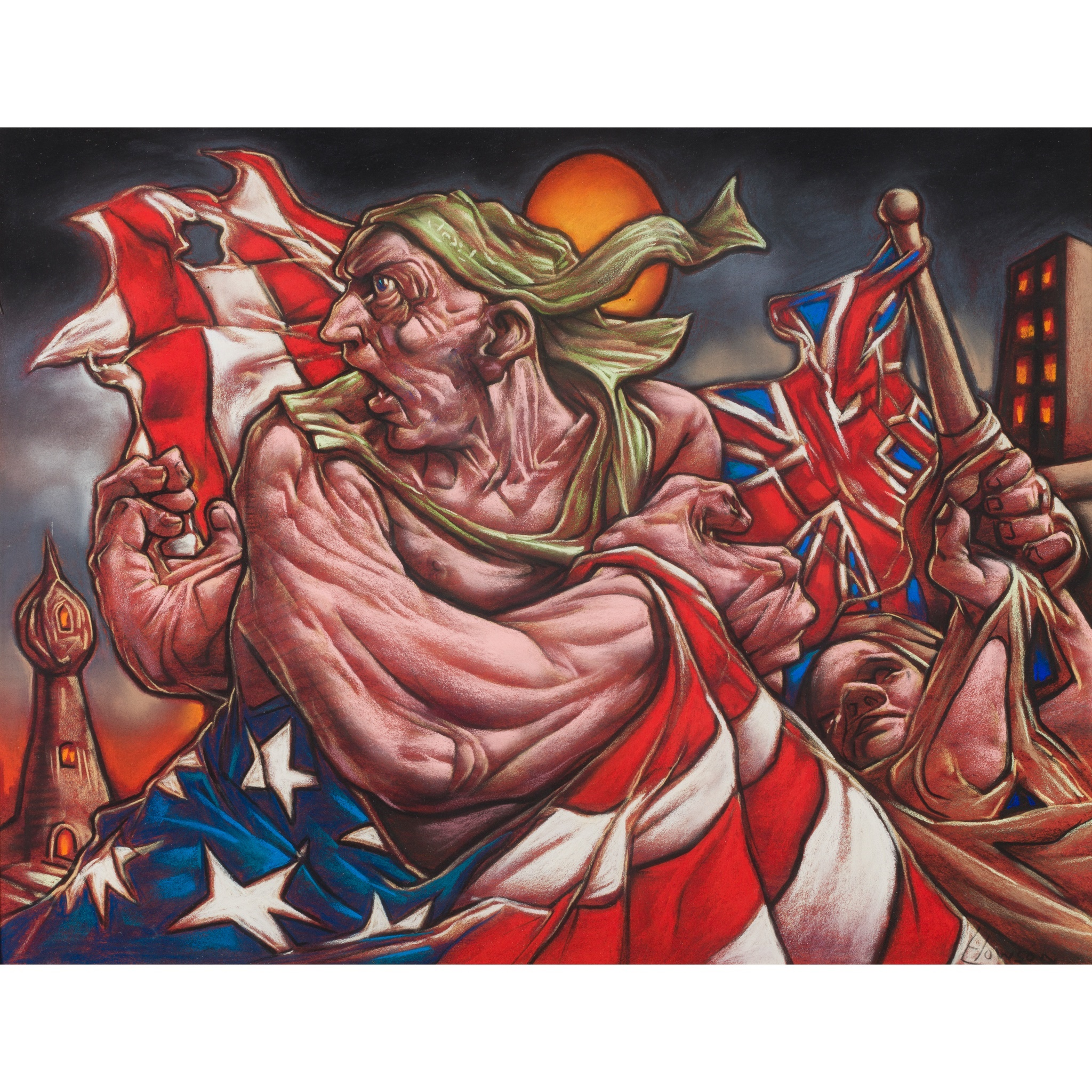 LOT 62 | § PETER HOWSON O.B.E. (SCOTTISH B.1958) | SPECIAL RELATIONS Signed, pastel | 48cm x 61cm (18in x 24in) | Provenance: Peter Howson Studio | £2,000 - £3,000 + fees