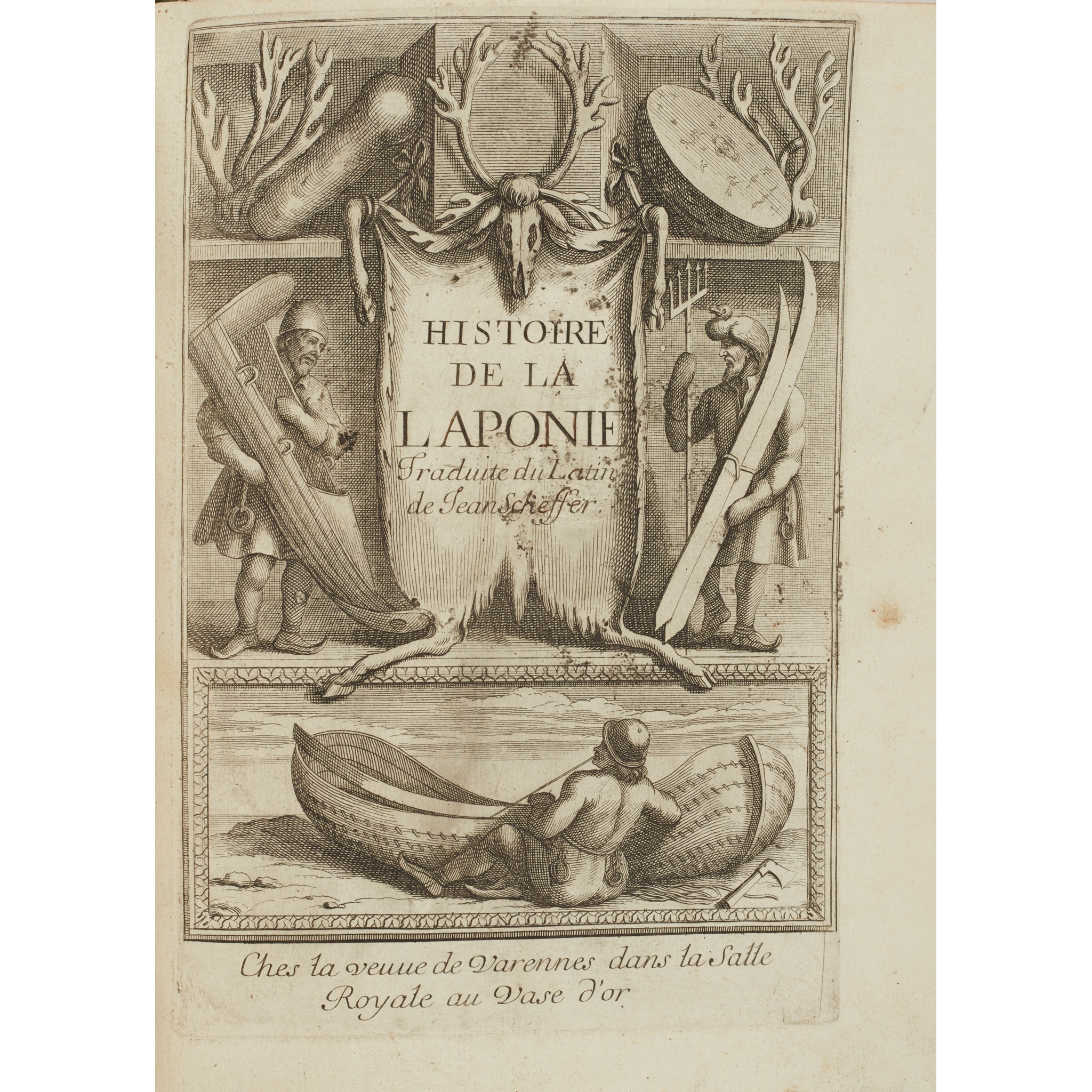 Lot 427 (Rare Books, Manuscripts, Maps & Photographs, 25th February 2021)  SCHEFFERUS, JOANNES HISTOIRE DE LA LAPONIE Paris: Olivier de Varennes, 1678. First edition in French, small 4to, additional engraved title-page, folding map, 21 plates, with additional cancel leaf A1, contemporary calf with gilt tooled spine and red morocco gilt label  Provenance: The Late Dr Helen E C Cargill Thompson  Estimate £300 - £500