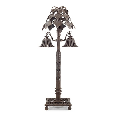 Lot 442 (Design Since 1860, 22nd April 2021)  ALESSANDRO MAZZUCOTELLI (1865- 1938) TABLE LAMP, CIRCA 1910 wrought iron, stamped maker's mark to base MAZZUCOTELLI  75cm high  Provenance: A Private European Collection of Design  Estimate £2,000 - £3,000
