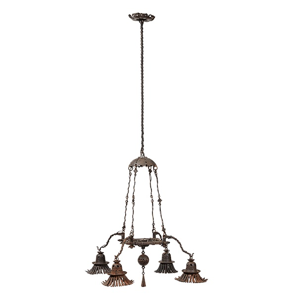 LOT 439 | ALESSANDRO MAZZUCOTELLI (1865- 1938) | PAIR OF CEILING LIGHTS, CIRCA 1910 wrought iron, each with stamped makers mark to frame MAZZUCOTELLI Provenance: A Private European Collection of Design (Qty: 2) 66cm diameter, 130cm high | £2,000 - £3,000 + fees