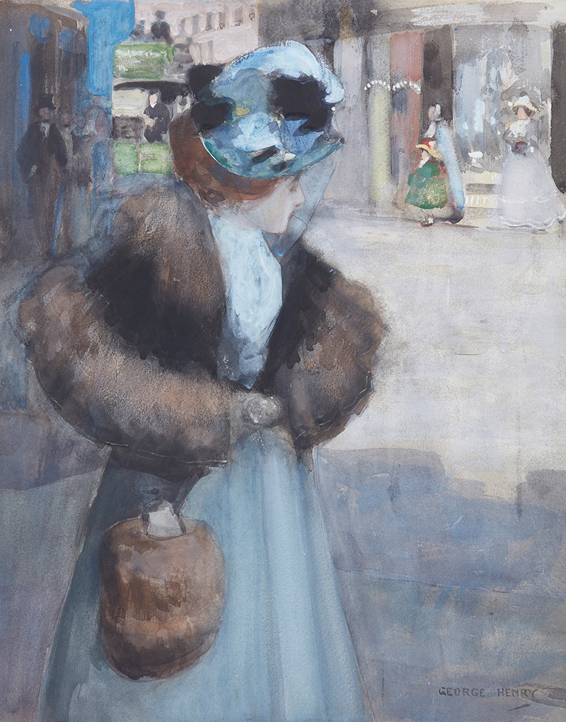 LOT 134 | GEORGE HENRY R.A., R.S.A., R.S.W. (SCOTTISH 1858-1943) | OFF TO THE MILLINER Signed, watercolour | 51cm x 41cm (20in x 16in) | £3,000 - £5,000 + fees