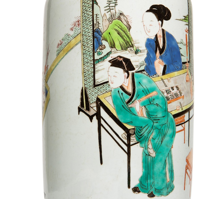 WUCAI 'SCHOLAR AT LEISURE' ROULEAU VASE