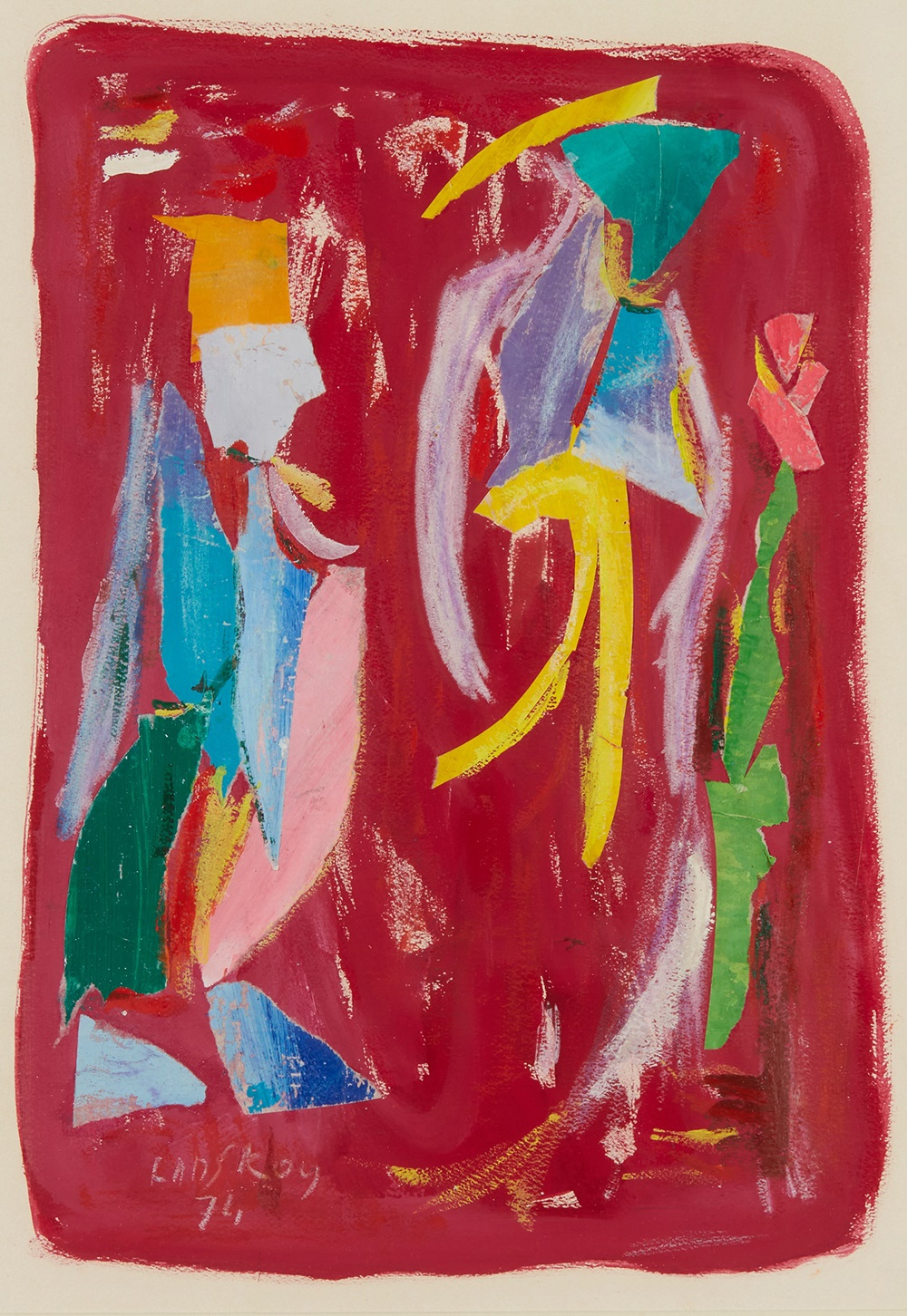 LOT 31 | ANDRE LANSKOY (RUSSIAN 1902-1976) | UNTITLED (FIGURES ON A PINK GROUND) Signed and dated '74 lower left, collage and mixed media on paper | 50cm x 35cm (19.5in x 13.75in) | £800 - £1,200 + fees