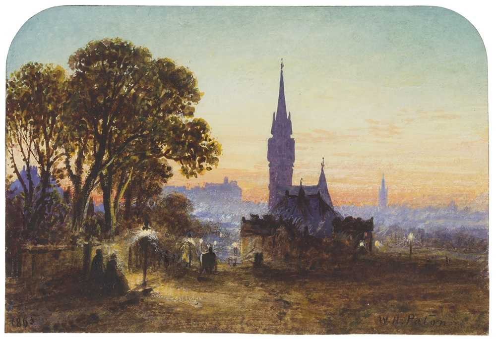 LOT 157 | WALLER HUGH PATON R.S.A., R.S.W. (SCOTTISH 1828-1895) | BARCLAY CHURCH FROM BRUNTSFIELD LINKS Signed and dated 1865, inscribed on a note attached verso, watercolour, arched top | 9cm x 13.5cm (3.5in x 5.25in) | £300 - £500 + fees
