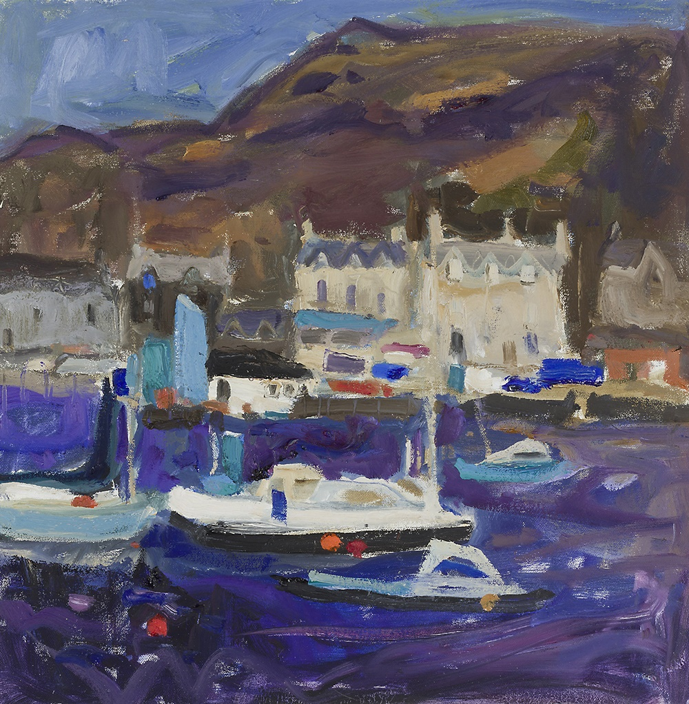 LOT 2 | § SHEILA MACNAB MACMILLAN (SCOTTISH 1928-2018) | A BUSY HARBOUR Oil on canvas, with artist's label verso | 51cm x 51cm (20in x 20in) | £400 - £600 + fees