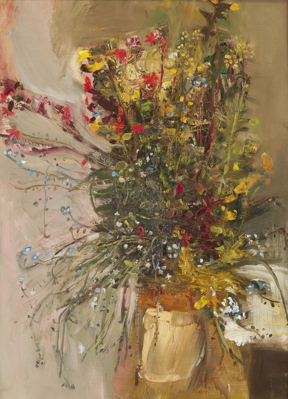 Joan Eardley R.S.A (Scottish 1921-1963) | Jar of Summer Flower, 1963 | Inscribed with the inventory number EE89, oil on canvas | 76cm x 56cm (30in x 22in) | £30,000 - 50,000 + fees