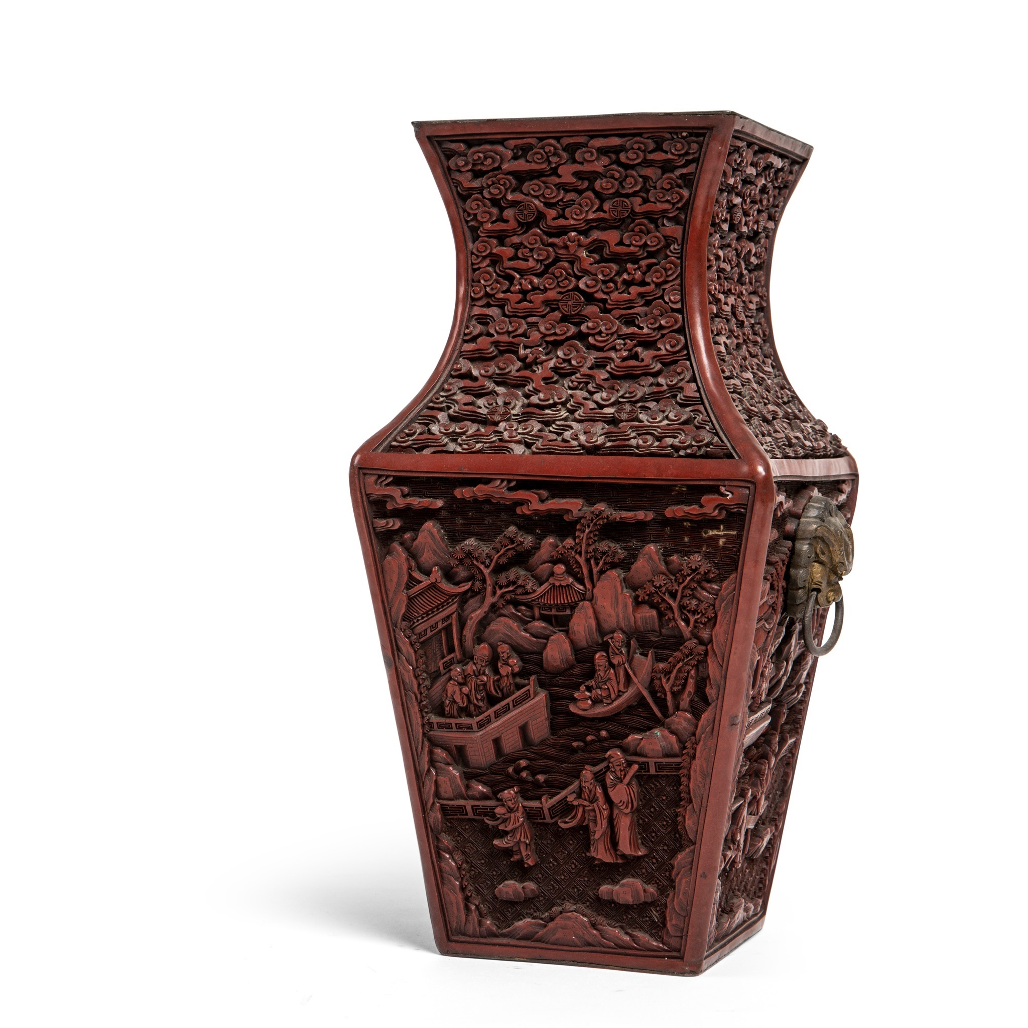 CINNABAR LACQUER SQUARE-SECTIONED VASE QING DYNASTY, 19TH CENTURY