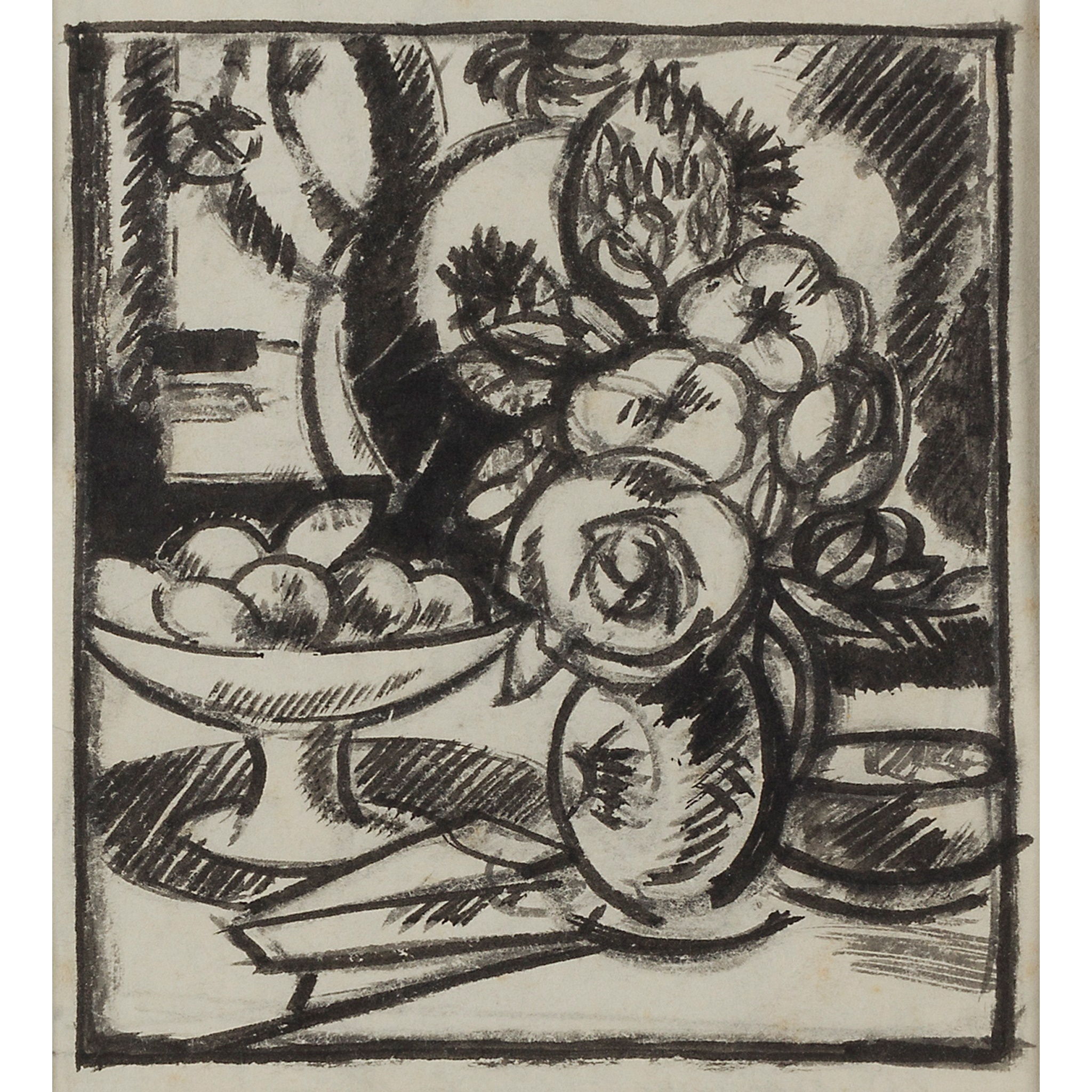 LOT 19 | § JOHN DUNCAN FERGUSSON R.B.A. (SCOTTISH 1874-1961) | FLOWERS AND FRUIT 1911 Signed verso, inscribed and dated on label verso, pen and ink and wash | 12cm x 11cm (4.75in x 4.25in) | Exhibited: Alexander Meddowes J.D.Fergusson Drawings, 2014/2015 | £2,000 - £3,000 + fees