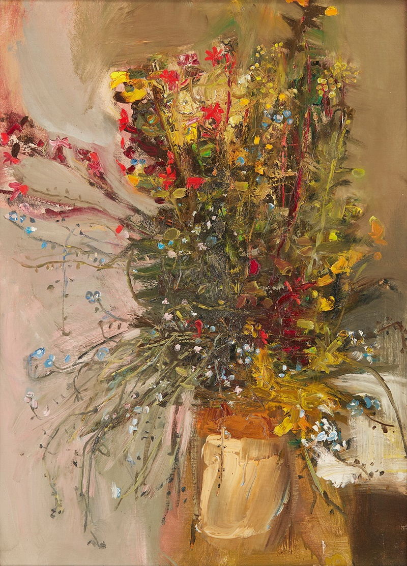 LOT 161 | § JOAN EARDLEY R.S.A (SCOTTISH 1921-1963) | JAR OF SUMMER FLOWERS, 1963 Inscribed with the inventory number EE89, oil on canvas 76cm x 56cm (30in x 22in) | £30,000 - £50,000 + fees