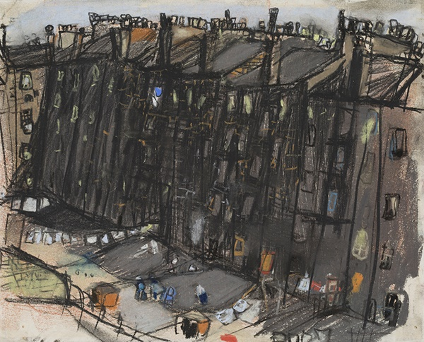 Joan Eardley R.S.A (Scottish 1921-1963) | A Glasgow Tenement | Pastel | 25cm x 20cm (9.75in x 8in) | Sold for £28,750 incl premium