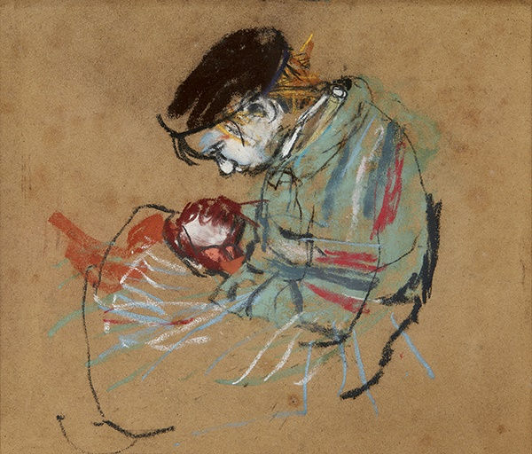 Joan Eardley R.S.A (Scottish 1921-1963) | Girl with striped jersey | Pastel on glass paper | 26.5cm x 23cm (10.5in x 9in) | £10,000 - 15,000 + fees