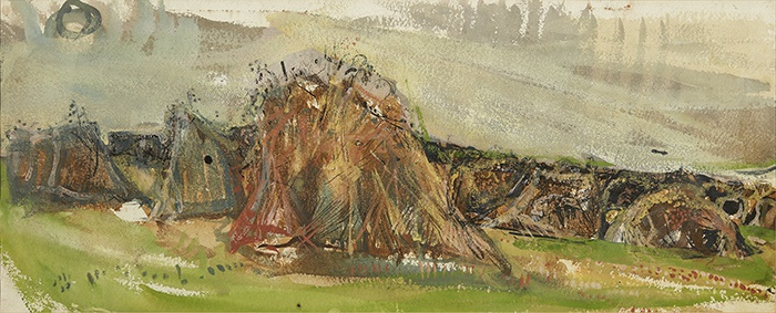 Joan Eardley R.S.A (Scottish 1921-1963) | Haystooks | Pen and ink and watercolour | 23cm x 57cm (9in x 22.25in) | £3,000 - 5,000 + fees