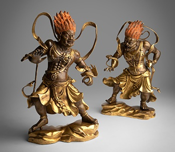 LOT 83 | PAIR OF GILT BRONZE FIGURE OF TEMPLE GUARDIANS