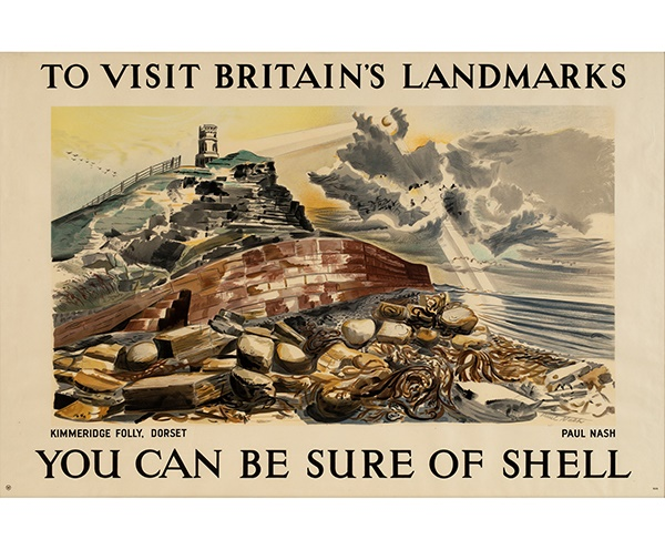 LOT 13 | PAUL NASH (1889–1946) | KIMMERIDGE FOLLY, DORSET lithographic poster, 1937, condition A; not backed, framed | 76cm x 114cm (30in x 45in) | Literature: Hewitt, The Shell Poster Book, 85. | £1,500 - £2,000 + fees