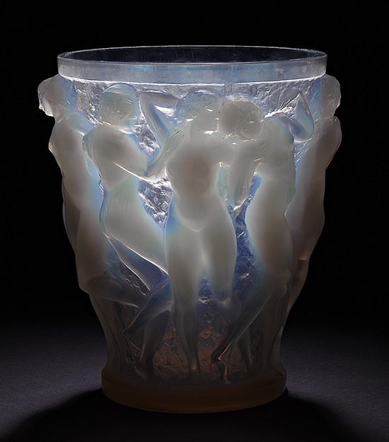 RENÉ LALIQUE (1860-1945) 'BACCHANTES' CLEAR, FROSTED AND OPALESCENT GLASS VASE, DESIGNED 1927 Sold for £18,750 incl premium | Decorative Arts | 18th April 2012