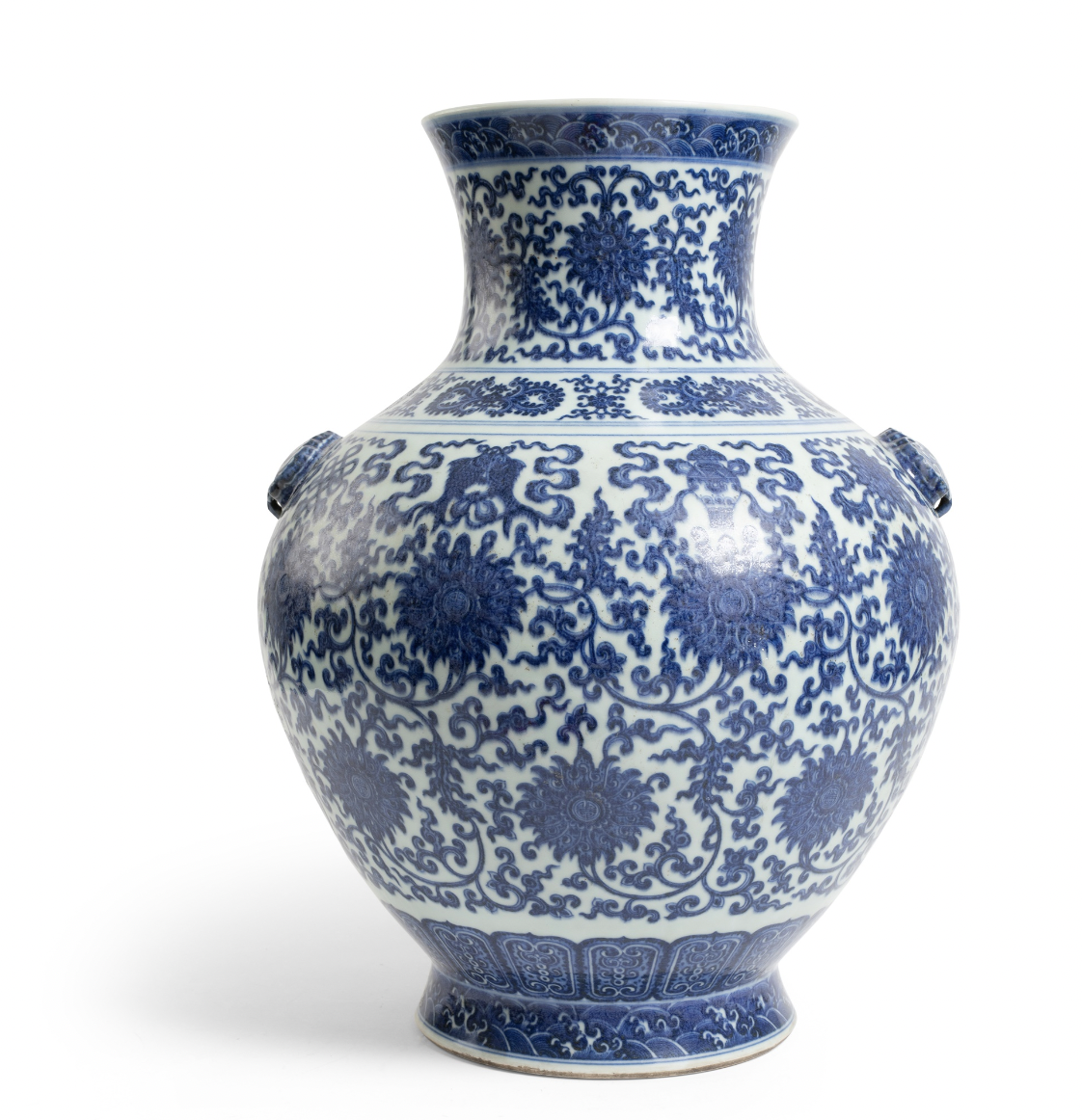 LARGE BLUE AND WHITE 'LOTUS' VASE QIANLONG MARK, 18TH CENTURY