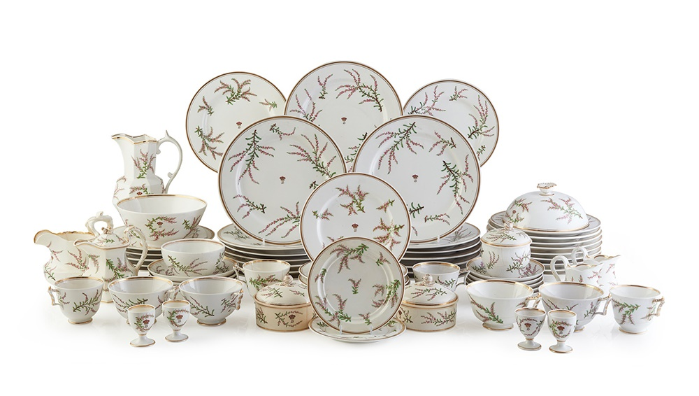 THE BREADALBANE HEATHER PATTERN WORCESTER PORCELAIN BREAKFAST SERVICE