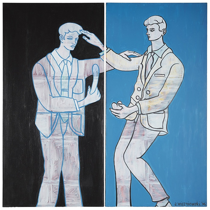 LOT 51 | § ADRIAN WISZNIEWSKI (SCOTTISH B.1958) | BLACK AND BLUE (DIPTYCH) Signed and dated '96, oil on canvas in two parts | 200cm x 200cm (78.75in x 78.75in), unframed | £1,000 - £1,500 + fees